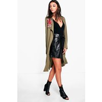 Arielle Embroidered Duster Jacket - khaki