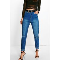 High Waist Slim Fit Jeans - mid blue