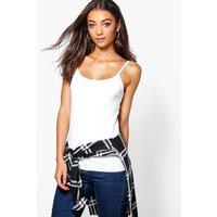 Lily Fine Strap Basic Vest Top - cream