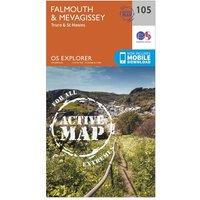 Ordnance Survey Explorer Active 105 Falmouth & Mevagissey Map With Digital Version, Orange
