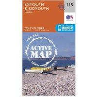 Ordnance Survey Explorer Active 115 Exmouth & Sidmouth Map With Digital Version, Orange