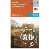 Ordnance Survey Explorer Active 129 Yeovil & Sherbourne Map With Digital Version, Orange