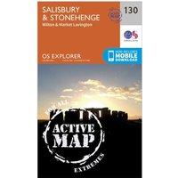 Ordnance Survey Explorer Active 130 Salisbury & Stonehenge Map With Digital Version, Orange