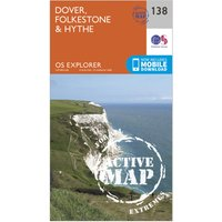 Ordnance Survey Explorer Active 138 Dover, Folkstore & Hythe Map With Digital Version, Orange