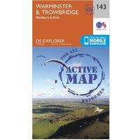 Ordnance Survey Explorer Active 143 Warminster & Trowbridge Map With Digital Version, Orange