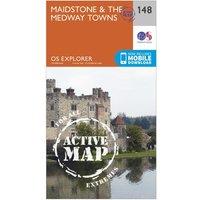 Ordnance Survey Explorer Active 148 Maidstone & The Medway Towns Map With Digital Version, Orange