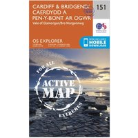 Ordnance Survey Explorer Active 151 Cardiff & Bridgend Map With Digital Version, Orange