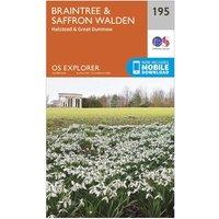 Ordnance Survey Explorer 195 Braintree & Saffron Walden Map With Digital Version, Orange