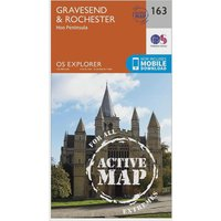 Ordnance Survey Explorer Active 163 Gravesend & Rochester Map With Digital Version, Orange