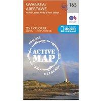 Ordnance Survey Explorer Active 165 Swansea, Neath & Port Talbot Map With Digital Version, Orange
