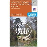 Ordnance Survey Explorer Active 207 Newport Pagnell & Northampton South Map With Digital Version, Orange