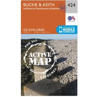 Ordnance Survey Explorer Active 424 Buckie & Keith Map With Digital Version, Orange