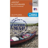 Ordnance Survey Explorer Active 442 Assynt & Lochinver Map With Digital Version, Orange