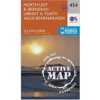 Ordnance Survey Explorer Active 454 North Uist & Berneray Map With Digital Version, Orange
