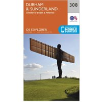 Ordnance Survey Explorer 308 Durham & Sunderland Map With Digital Version, Orange