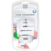 Design Go World Adaptor and USB Charger, White