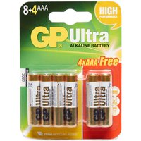 Gp Batteries Ultra Alkaline AAA Batteries 8+4 Pack, Assorted