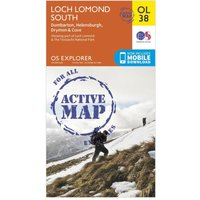Ordnance Survey Explorer Active OL38 Loch Lomond South Map, Orange
