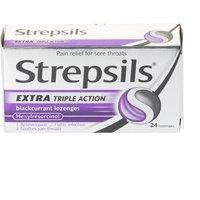 Strepsils Triple Action Extra Blackcurrant 24