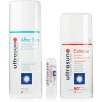 Ultrasun Extreme Sun Lotion SPF50+ Aftersun Gel 150ml + Ultralip SPF30