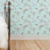 beautiful birds duckegg wallpaper duck egg green