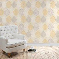 ochre leaf motif wallpaper ochre