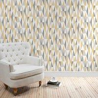 triangle ochre wallpaper grey / ochre