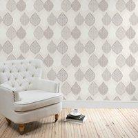 leaf motif wallpaper grey