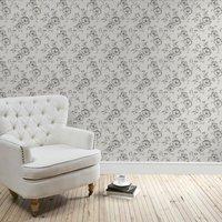 pivoine floral wallpaper grey
