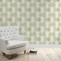 green leaf motif wallpaper green