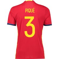 Spain Home Authentic Shirt 2016 Red with Pique 3 printing