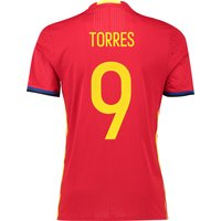 Spain Home Authentic Shirt 2016 Red with Torres 9 printing