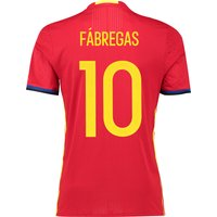 Spain Home Authentic Shirt 2016 Red with Fabregas 10 printing