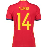 Spain Home Authentic Shirt 2016 Red with Alonso 14 printing
