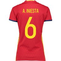 Spain Home Shirt 2016 - Womens Red with A.Iniesta 6 printing