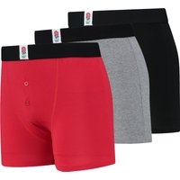 England Bamboo Button Front Trunks - 3 Pack - Red/Black/Grey