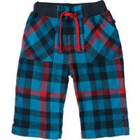 Frugi Little Multi-Checked Roll Up Trousers - Harbour Blue