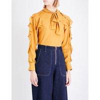 Pussybow ruffled crepe blouse