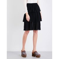 Ruffled tiered chiffon skirt