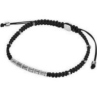 Rhodium macramé bamboo bracelet