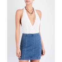 Free People Ladies White Full Coverage Bohemian Avery Racerback Lacy Bodysuit