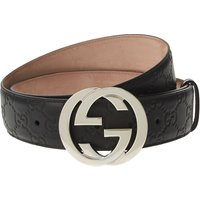 Gucci Leather logo belt, Mens, Size: 32, Black