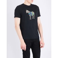 Ps By Paul Smith Zebra-print cotton-jersey T-shirt, Mens, Size: S, Black