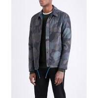 Camouflage-patterned shell overshirt