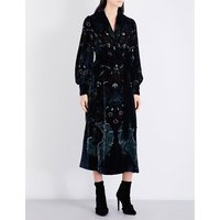 Tapestry-embellished velvet dress