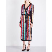Striped sequinned wrap dress
