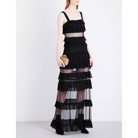 Coral mesh maxi dress