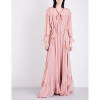 Ruffled silk-chiffon gown