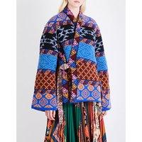 Reversible floral-jacquard and jacquard-knit coat