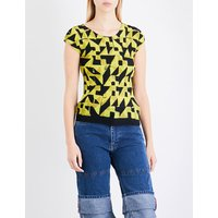 Abstract-print pleated T-shirt